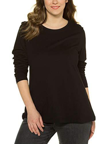 Ulla Popken Basic-Shirt, Rundhalsausschnitt, Slim, Baumwolle Camiseta de Manga Larga, Negro (10), 48-50 para Mujer