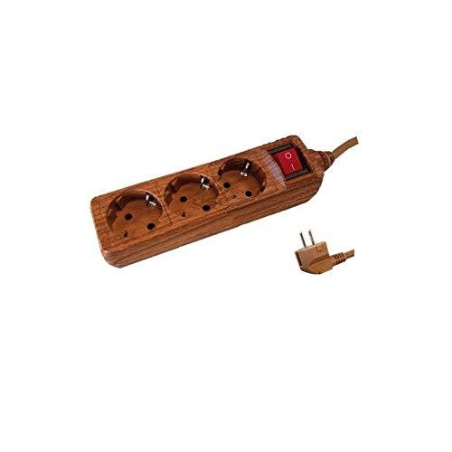GSC 0001061 Steckdosenleiste, 3Dosen und Schalter, 3x1,5mm, 1,5m, holzfarben