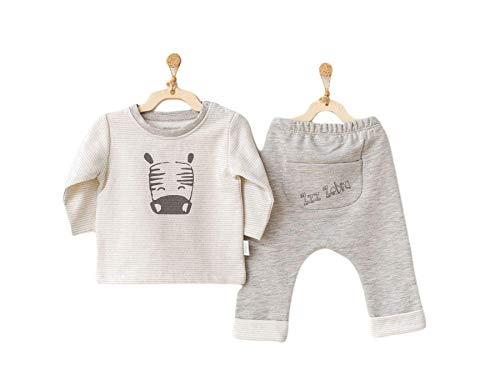Andywawa Ropa de bebé orgánica Zebra – Traje de algodón orgánico con pantalones y camisa | Traje de bebé recién nacido