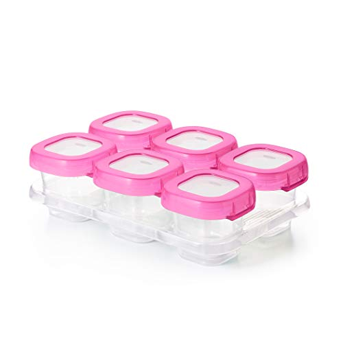 OXO Tot Baby Blocks Food Storage Containers, Pink, 2 oz