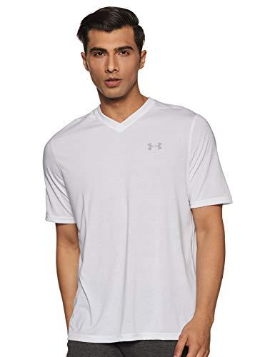 Under Armour Men's Threadborne Siro V-Neck T-Shirt, White /Overcast Gray, XXX-Large