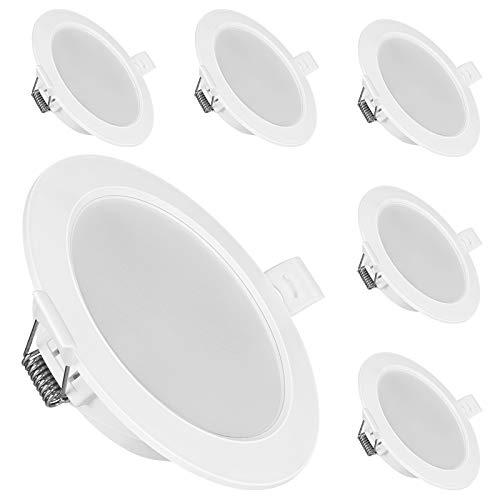 EDISHINE Foco LED empotrable IP44, 230 V, lámpara LED empotrable, plano, 3000 K, blanco cálido, 420 lm, para el baño, juego de 6 focos de techo, certificado CE