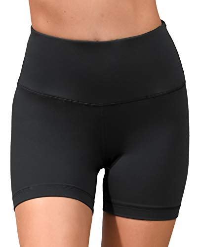 90 Degree By Reflex High Waist Power Flex Yoga Shorts - Tummy Control Biker Shorts for Women - Black - Small