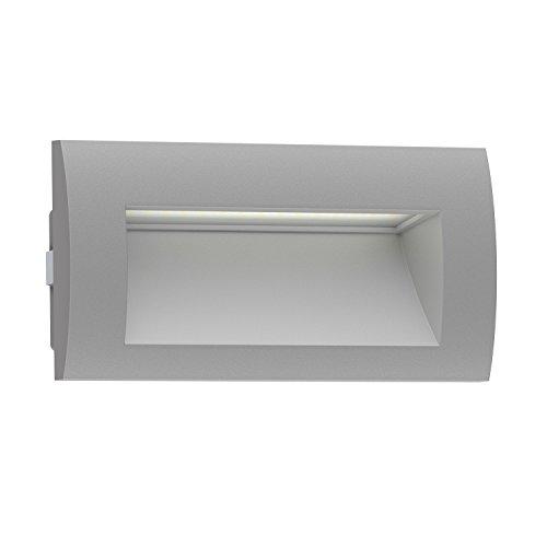 ledscom.de Lámpara de pared empotrada LED ZIBAL para exterior, gris, blanco cálido, 140x70mm
