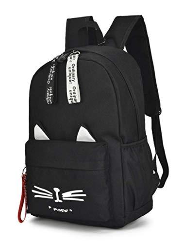 AAGG Mochila Cute Cartoon School Bag Teenage Girl Nylon Backpack Bag Mujer Casual Teen Student Bag Cat Ears Negro