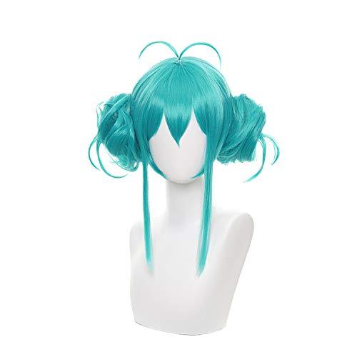 Tongtta Short Green Anime Wig for Miku Halloween Costume Party Wig(2 Bun)