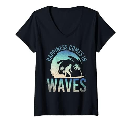 Mujer La Felicidad Viene En Olas Amante Del Deporte Surfero Surf Camiseta...