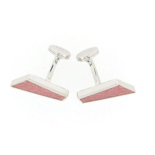 La Olivia Collection CL4002 - Boutons de Manchette en Argent 925 de Forme Diagonale au Design Feuillu Rose