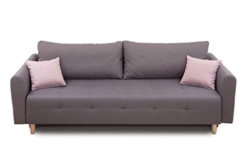 Collection AB Scandinavia Bettfunktion und Bettkasten Schlafsofa, Stoff, Grau, 86 x 219 x 93 cm