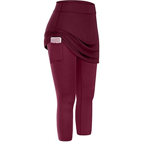riou Leggings Push Up Mujer Mallas Pantalones Deportivos Alta Cintura Bolsillo Pantalones de Yoga de Falda Tenis Elásticos Yoga Fitness