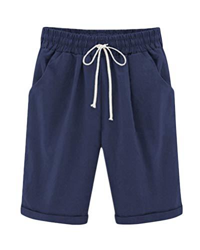 ShallGood Damen Leinenshorts Bermuda lockere Kurze Hose Freizeithose 100% Leinen Shorts Elegante Haremshose mit Knöpfen Sommer Strand Marine Large