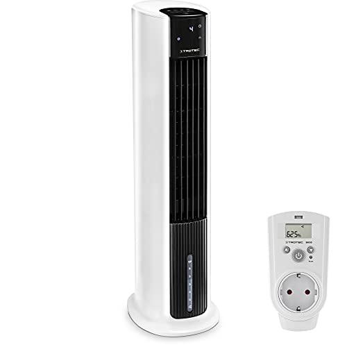TROTEC Aircooler PAE 30, 3 en 1: Refrigeración por Aire, Ventilación y Humidificación, Temporizador, Modo Nocturno, Portátil, Blanco, Oficina, Hogar Incluye Enchufe con higrostato BH30