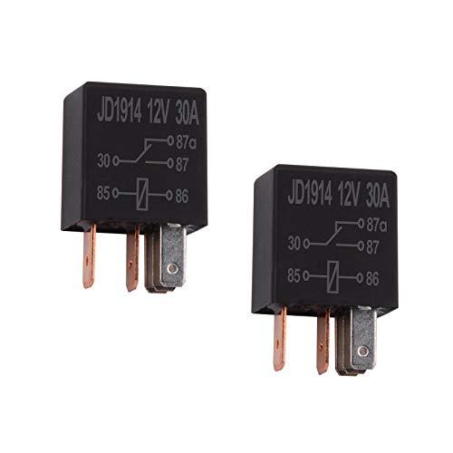 Ehdis 2 Piezas Relé para Coche 12V 30A 5 Pin, SPDT Multiusos relé Heavy Duty relé estándar, contactor de relé Interruptor de alimentación, de los detectores magnéticos y Entrantes, Paquete de 2