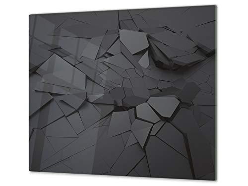 Concept Crystal Tagliere da Cucina in Vetro e Copri-Piano Cottura a induzione – Pezzo Unico (60x52 cm) o Due Pezzi (30x52 cm ognuno); D10A Serie Textures A: Trama 16