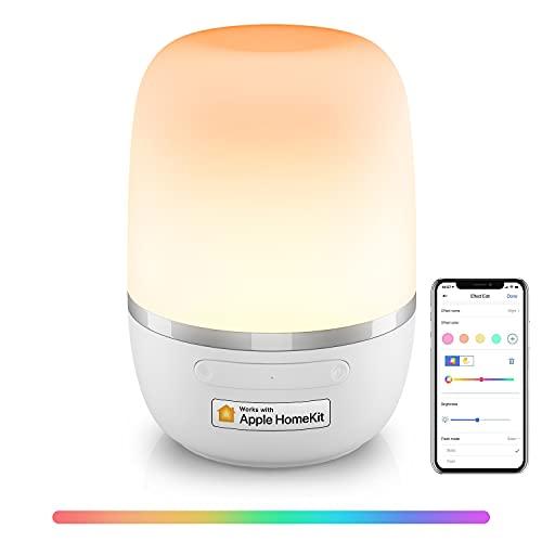 WLAN LED Nachttischlampe funktioniert mit Apple HomeKit, Meross Dimmbar Atmosphäre Tischlampe für Schlafzimmer Wohnzimmer, kompatibel mit Siri, Alexa, Google, und Smartthings, mit USB-Kabel