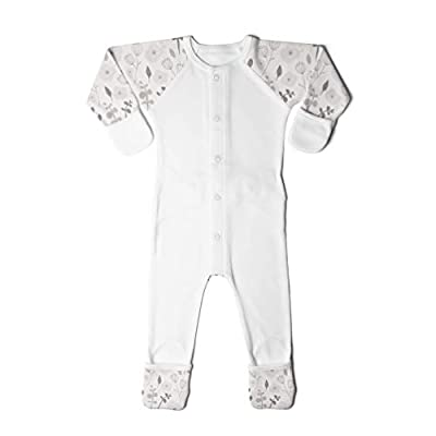 goumikids Goumi'all, Smart Adjustable Footie Baby Pajamas Made with Soft, Organic Material (3-6 Months, Enchanted Garden Gray)