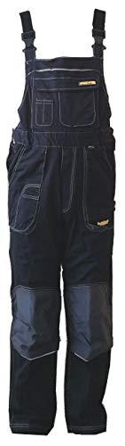 HighMax Latzhose Arbeitshose 96% Baumwolle + elastisch 4% Spandex 330G CORDURA Schwarz + Grau S87 Größe 52