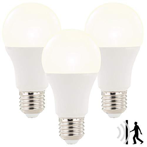 Luminea LED Leuchtmittel: 3x LED-Lampe mit Radar-Bewegungssensor, 12 W, E27, WW, 3.000 K (Glühlampe mit Bewegungsmelder)
