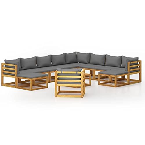 Tidyard Set Muebles de Jardín 12 Piezas con Cojines Muebles Juego de Terraza Hogar Exterior Sofá Mesa Suave Asiento con Respaldo Madera Maciza de Acacia Gris Oscuro