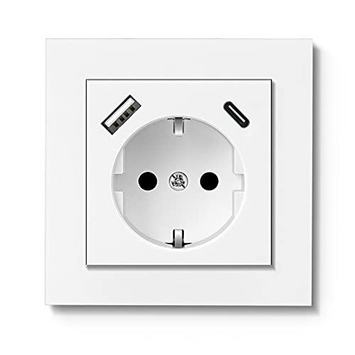 RAVPHICS Enchufe USB, enchufe con conector de cargador USB y 1 puerto tipo C de 3,4 A máx., color blanco brillante, enchufe Schuko, profundidad del zócalo de solo 33 mm, fácil instalación.