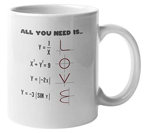 Todo lo que necesitas es amor. Taza de regalo de café y té de matemáticas para mago de matemáticas, genio, friki, nerd, matemático, analista, estudiantes, profesores, instructores, profesores, hombres
