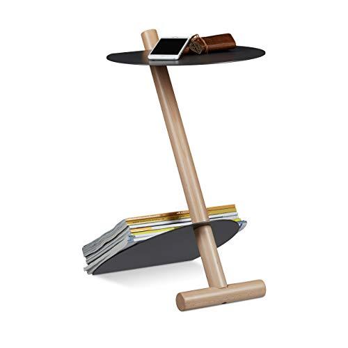 Relaxdays Table d'appoint porte-magazines porte-revues porte-journaux métal bois design moderne HxlxP: 55 x 34 x 45 cm table basse, anthracite