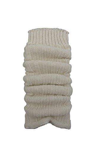 1paio di scaldamuscoli in maglia grossa, con lana di Alpaca, per donne e ragazze, CH-354 bianco Taglia unica