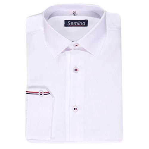 Kinderhemd Elegantes Hemd für Jungen Mod-1 weiß mit rot blauen Streifen (110)