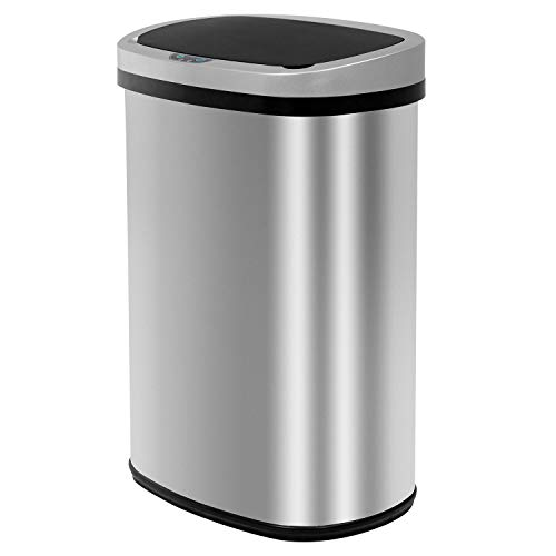Automatic Kitchen Trash Can for Bathroom Bedroom Home Office 13 Gallon 50 Liter Automatic Touch Free High-Capacity Garbage Can with Lid Brushed Stainless Steel Waste Bin