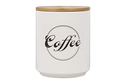Kaffeedose aus Porzellan, luftdicht, weiße Kaffeedose mit Bambusdeckel, Kaffeedose Kaffeehalter, Tawches