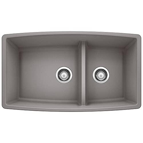 Blanco, metallic gray 441309 performa silgranit 60/40 double bowl...