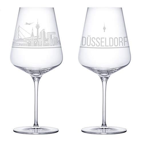 3forCologne Weinglas Düsseldorf Sehenswürdigkeiten Gravur, Souvenir Weingläser 2er Set für Rotwein und Weißwein, Kristallglas