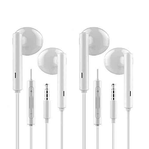 RURUI [2 Pack] Auriculares con Microfono Auriculares Cable Sonido Estéreo Auriculares In-Ear Auriculares para Movil Compatible con Audio Jack 3.5mm- Blanco