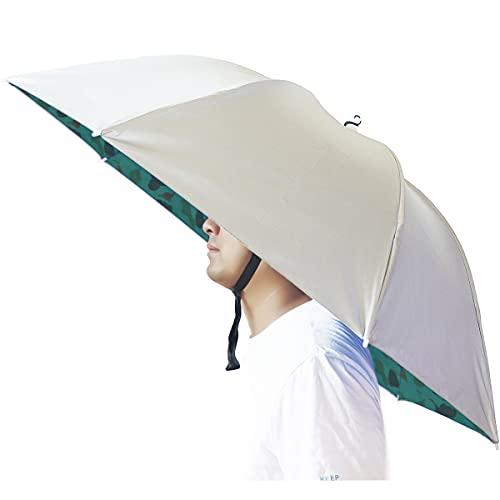 Umbrella Hat, Bocampty 37 inch Fishing Umbrella Hat Hands Free Foldable UV Protection Umbrella Cap Adjustable Headwear for Fishing Golf Camping Beach Gardening Sunshade Outdoor
