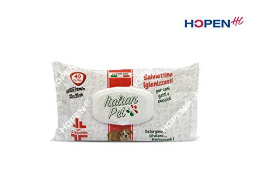 Italian Pet Salviette Igienizzanti per Animali Domestici con Clorexidina, 15 Confezioni da 40 Salviette