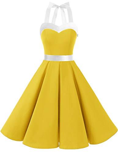 Dresstells Vintage 1950s Rockabilly Polka Dots Audrey Dress Retro Cocktail Dress Yellow White S