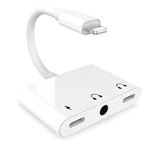 [Apple MFi Certified] Lightning to 3.5mm Headphone Jack Adapter, 3 in 1 Dual Lightning Aux Audio and Fast Charger Headphone Splitter for iPhone 12/12 Pro/11/XS/XS Max/XR/SE/X/8/7/6 P Support iOS 14