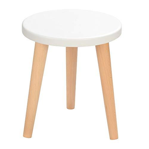 BIM Furniture Schemel Crystal White K MoonWood - Taburete de madera de roble natural (47 x 30 cm), color blanco, azul y rosa