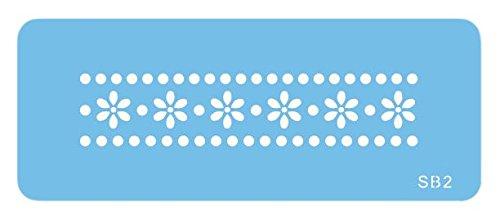JEM Bordürenschablone mit Gänseblümchen und Punkten, Kunststoff, Blau, 15 x 1 x 15 cm