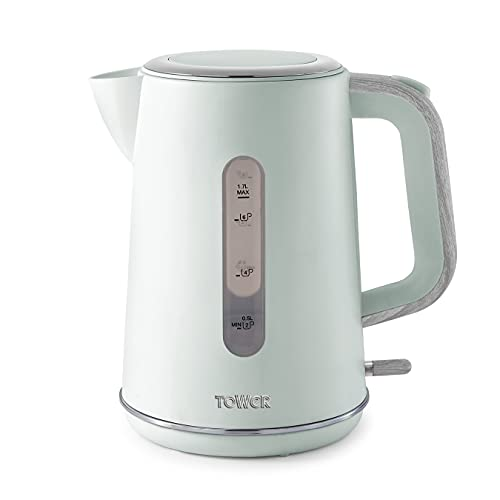 Tower Scandi T10037GRN Kettle with Rapid Boil and Boil Dry Protection, 1.7 Litre, 3 kW, Sage Green