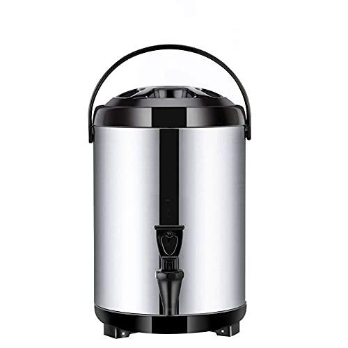 Heiß- und Kaltwasserspender, Thermos Tee, 8L/10L/12L, Isolierter Getränkespender mit großem Fassungsvermögen für Büro, Partys und Buffets,Edelstahl-Doppelschicht-Thermostat Wasserkocher-schw