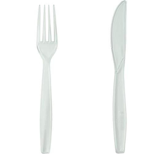 Pritogo – Juego de 150 Cubiertos de plástico,Compuesto por : 50 Tenedores, 50 cucharas y 50 Cuchillos Negros, sin BPA, Extra Estable y Grande (19,5 cm), Negro, 50 Gabeln 50 Messer 50 Löffel