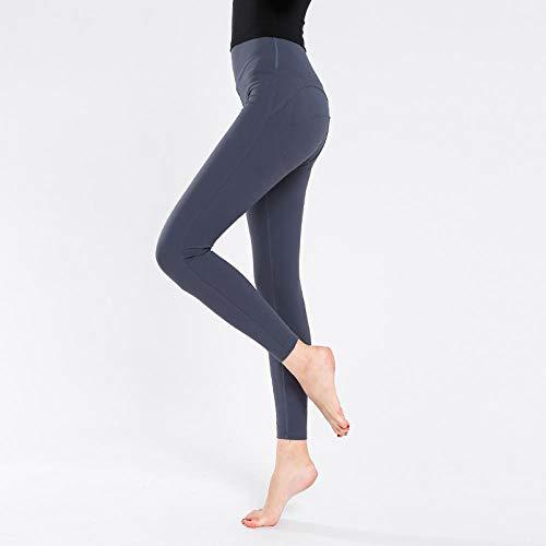 Yogabroek extra zachte legging met zakken voor dames,Push-ups dames yogabroek, fitness joggingbroek met hoge taille-Lichtgrijs (JK13) _M,Blouse met V-hals