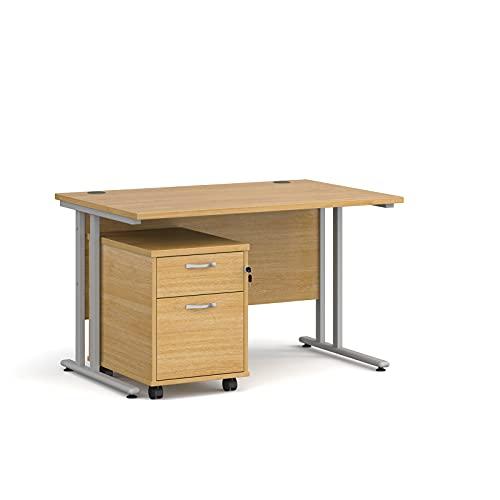 Maestro - Juego de 25 escritorios, 800 mm de profundidad, recto, pedestal móvil con 2 cajones con patas voladizas, color roble, 120 cm