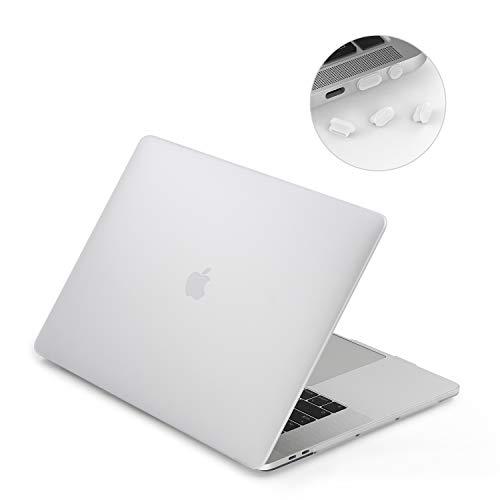 lention Funda rígida de plástico Compatible 2016-2019 MacBook Pro 15 Pulgadas - A1707/1990, con Thunderbolt 3 Puertos, Acabado Mate con pies de Goma y Tapones de Puertos (Blanco Escarchado)