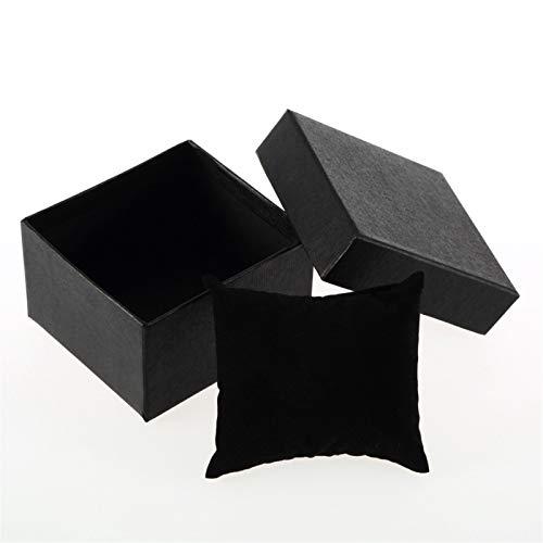 2pcs Conjunto de la Pulsera Reloj de la joyería Caja de Regalo de cartón, Soporte de Reloj con Pad de Espuma para Bangle Watch Almacenamiento Organizador Caja de Regalo (Color : Black)