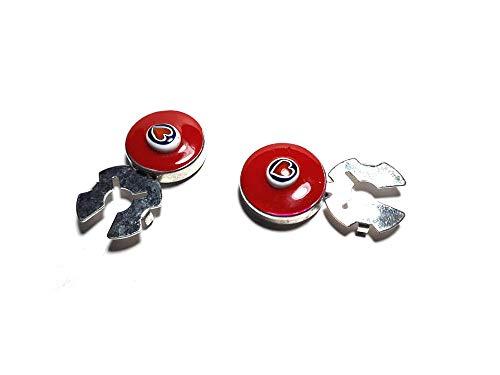 Artesanal 1 par de cubrebotones 18 mm Esmalte Rojo Murano baño Plata Brillante Cubre Botones Joyas Hombre de Regalo Llavero