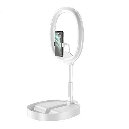 Kaliove Selfie Anillo Luz Recargable Pequeño Mini Círculo Clip en LED Rodinglight con Tenedor de Teléfono de Asiento para Corriente De Maquillaje De Corriente,Blanco