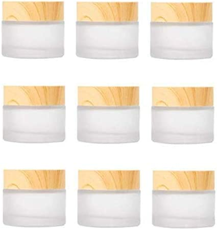 Healthcom 10 Pack 15ml 15g Empty Jars Frosted Glass Cream Jar Bottle with Wood Grain Lid Makeup product image
