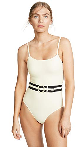 Solid & Striped Women's The Nina Belt One Piece Swimsuit, Cream, Small